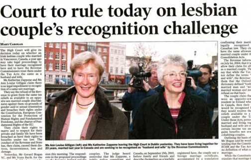 Court to rule today on lesbian couple's recognition challenge